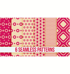 six pink seamless geometric patterns vector image vector image