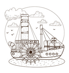 steamboat vintage water transport design gaming vector image