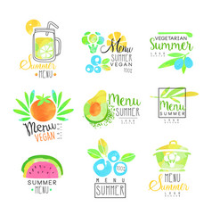 summer vegetarian menu set for logo design vector image vector image