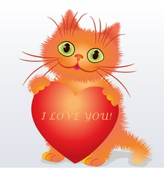 a funny kitten holding a heart vector image vector image