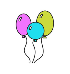 colored balloons flat icons on a white background vector image vector image