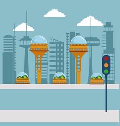 colorful scene futuristic city metropolis with vector image