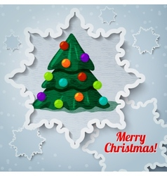 Merry christmas and new year greeting card - paper vector image vector image