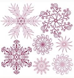 set dark lilas snowflakes vector image