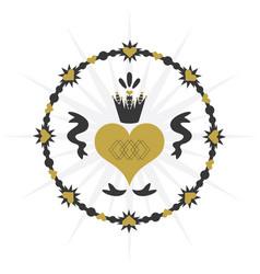 black and golden vintage royal circle ribbon heart vector image vector image