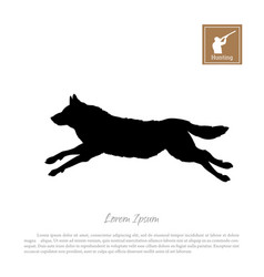 black silhouette of a running wolf vector image vector image