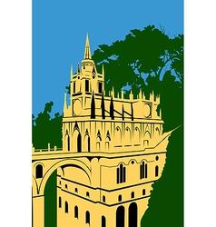 golden castle in the woods vector image vector image
