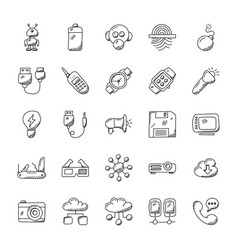 Pack of technology inventions doodle icons vector