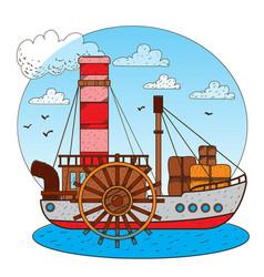 steamboat vintage water transport design gaming vector image vector image