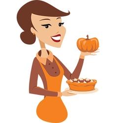Woman holding freshly baked pumpkin pie vector image vector image