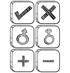 Doodle design of different buttons vector image vector image