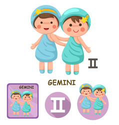 gemini collection zodiac signs vector image