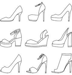 Set of shoes silhouettes on white background vector image vector image