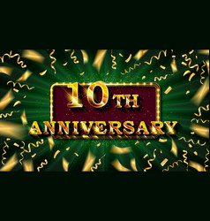 10 anniversary gold numbers vector image