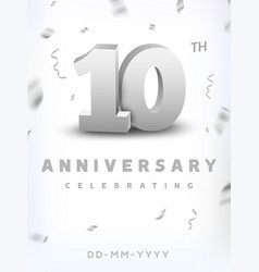 10 years silver number anniversary celebration vector image
