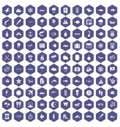 100 marine environment icons hexagon purple vector