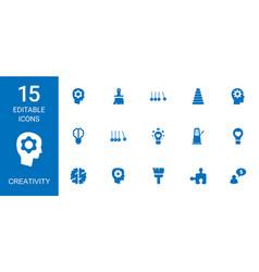 15 creativity icons vector image