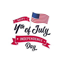 4th july calligraphy red ribbon and usa flag vector image