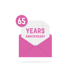 65 years anniversary icon missive in purple letter vector image