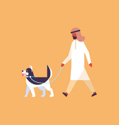 arab man walking dog best friend pet concept vector image