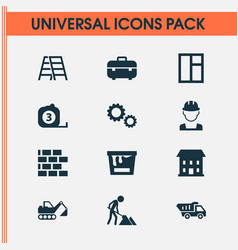 architecture icons set with tape ruler builder vector image