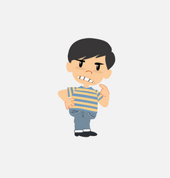 Asian boy in jeans something sick and dizzy vector