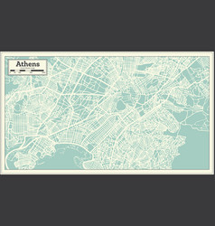 Athens greece map in retro style vector