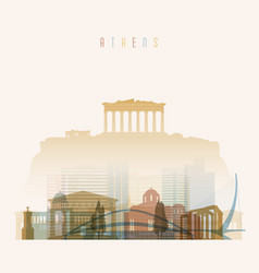 Athens skyline detailed silhouette vector