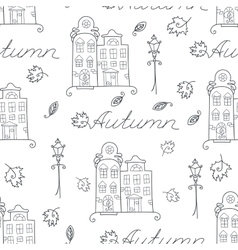 Autumn seamless pattern of houses vector
