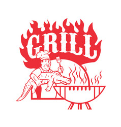Bbq chef carry gator grill retro vector