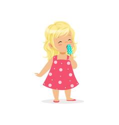beautiful little girl enjoying delicious ice-cream vector image vector image