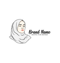 beautiful moslem girl white hijab line art vector image