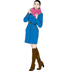 beautiful slim girl in casual clothes drawn in in vector image