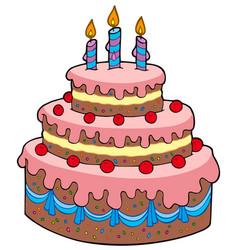 big cartoon birthday cake vector image