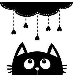 black cat looking up to cloud with hanging heart vector image