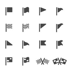 Black flag icons set vector