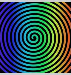 black rainbow round abstract vortex hypnotic vector image