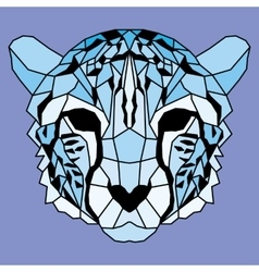 Blue low poly lined cheetah vector image