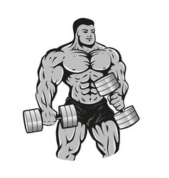 bodybuilder with dumbbells vector image
