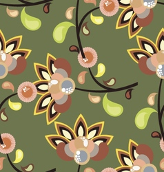 Bright green seamless pattern with flowers vector image vector image