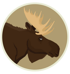 brown moose forest wildlife round frame animal vector image