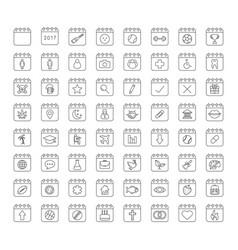 Calendars linear icons set vector