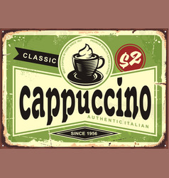 cappuccino vintage cafe sign with coffee cup vector image