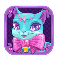 cartoon app icon with blue pretty kitty girl vector image
