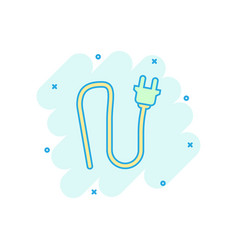 cartoon electric plug sign icon in comic style vector image