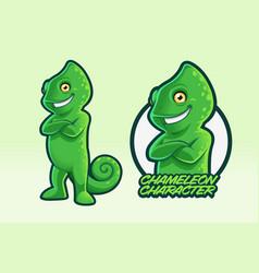 Chameleon character design vector