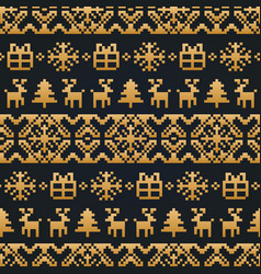 christmas or new year knitted seamless vector image