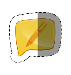 color sticker with pen icon in square speech vector image