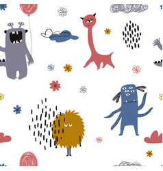 Colorful seamless pattern with cute monsters vector