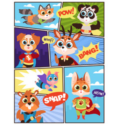 comic super animals comics storyboard with funny vector image